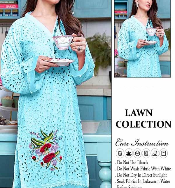 Eid Full Embroidered Lawn Shefali suit WIth EMB Trouser Unsicthed (DRL-747)