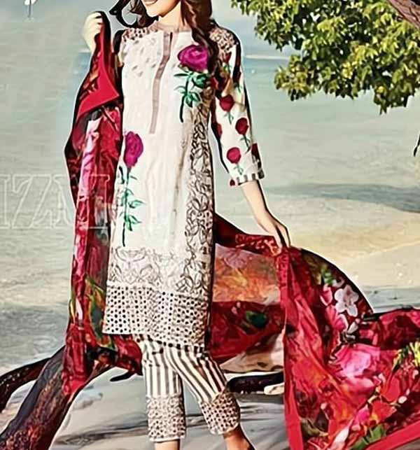 Eid Full Embroidered Lawn Suit WIth Chiffon  Duppata Unsicthed (DRL-797)