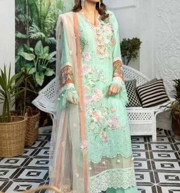 Eid Heavy Schiffli Lawn 2021 With Net Heavy Embroidered Duptta (DRL-794)
