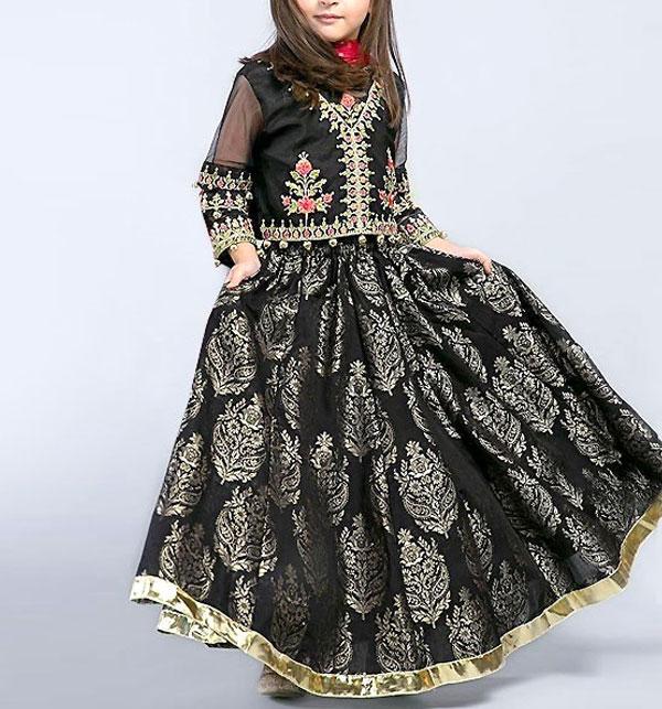 Eid Kids 2-Pcs Embroidered Black Lawn Dress UnStitched (DK-107)