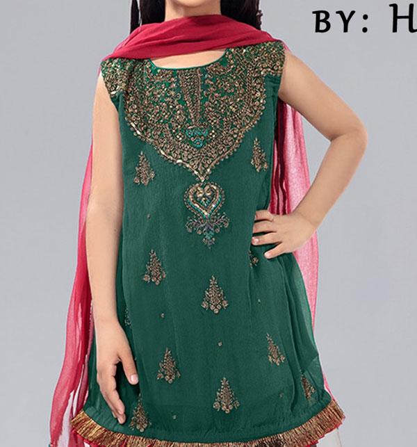 Eid Kids 2-Pcs Embroidered Lawn Dress UnStitched (DK-108)