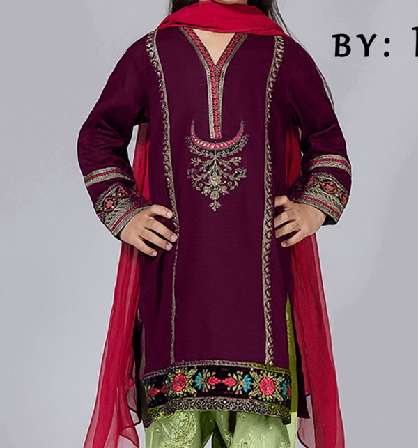 Eid Kids 2-Pcs Embroidered Lawn Dress UnStitched (DK-110)