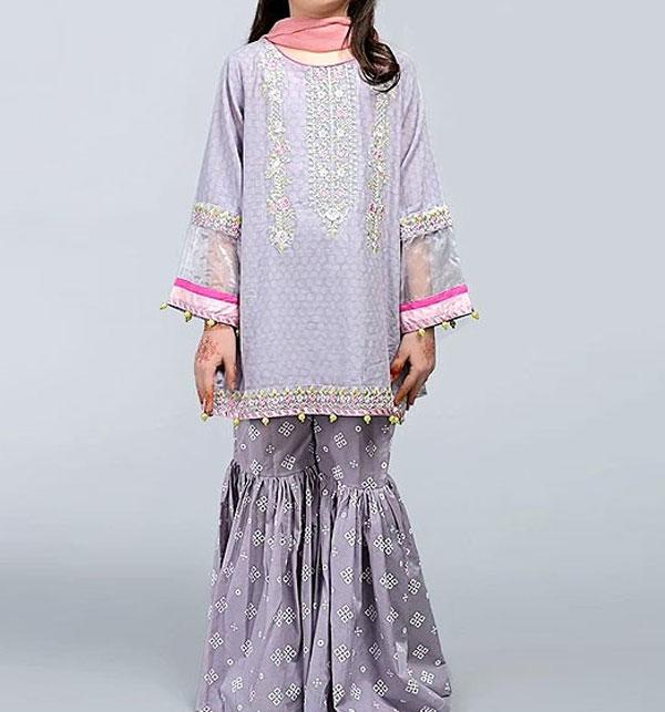 Eid Kids 2-Pcs Embroidered Lawn Suit UnStitched (DK-102)