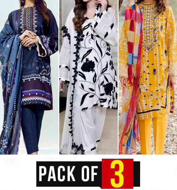 Eid Pack of 3 - Eid Embroidered Lawn Suit Collection 2021 (DRL-808), (DRL-922) & (DRL-753)