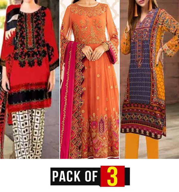 Eid Pack of 3 Lawn Suit with Chiffon Dupatta Unsitched (DRL-810),  (DRL-788) &  (DRL-715)