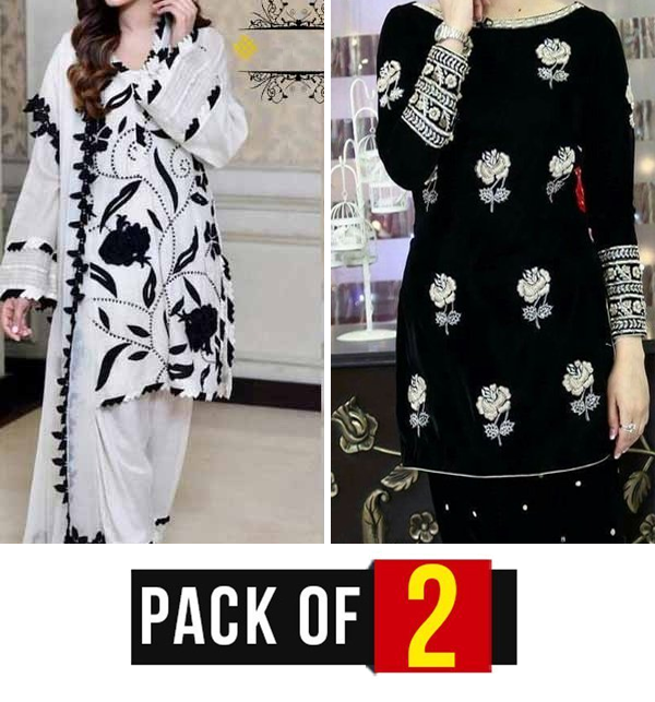 EID Sale Pack of 2 - Lawn Embroidered Suit (Unsicthed) (2 Pieces) (DRL-808) &  (DRL-64)