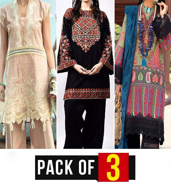Eid Sale - Pack of 3 Lawn Embroidery Dress (DRL-687), (DRL-586) & (DRL-468)
