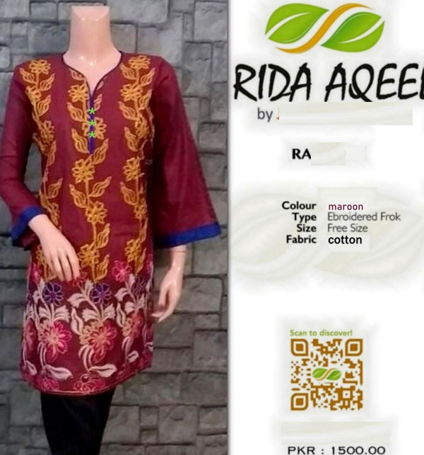 Cotton Stitched Kurti Full Embroidery Maroon Color (RA-1022)