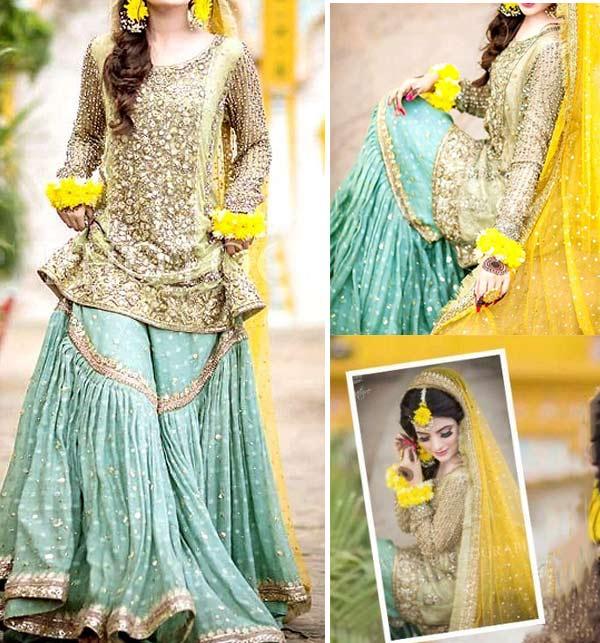 Best Mehndi Embroidered Net Dress with Chiffon Dupatta (UnStitched) (CHI-348)