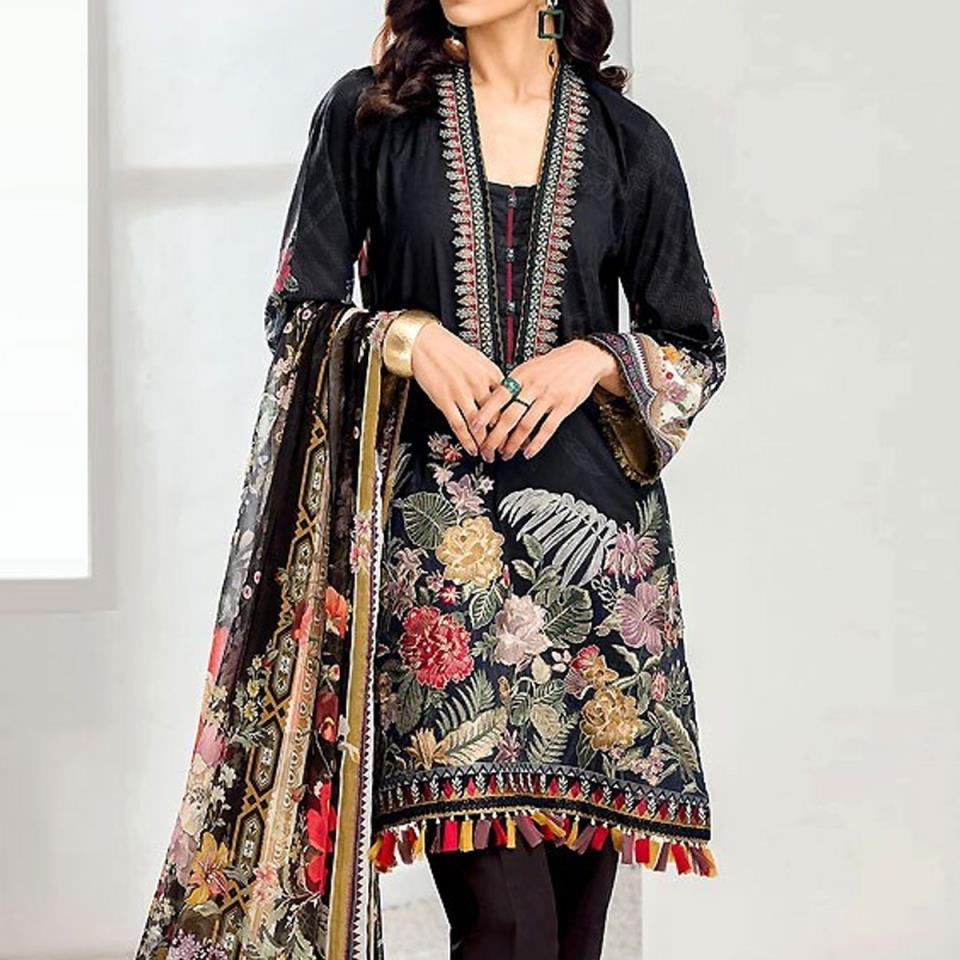 Lawn Embroidered Dress 2020 With Chiffon Dupatta  - (DRL-431) (UnStitched)