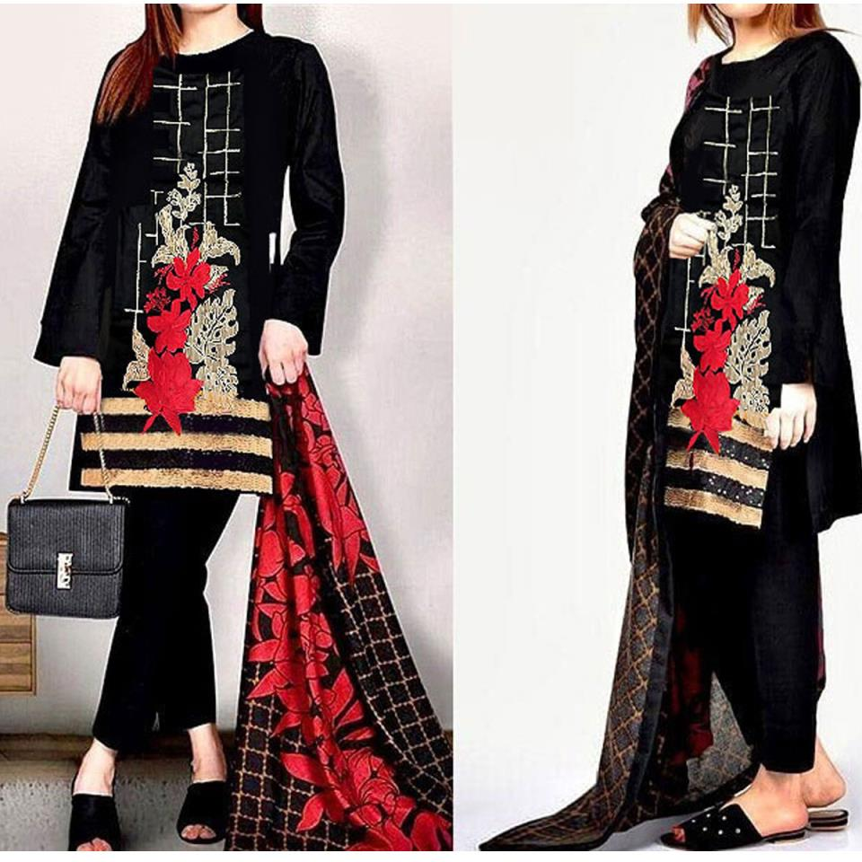 Embroidered Black Lawn Dress UnStitched (DRL-423)