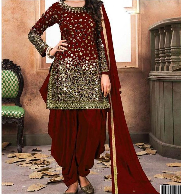 Embroidered Chiffon Shisha Party Dress (Unstitched) (CHI-162)