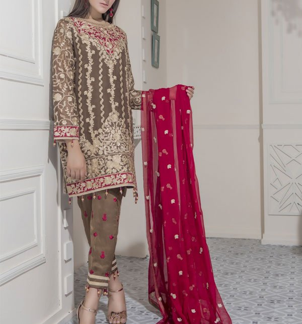 Heavy Embroidered Chiffon Dress (CHI-273) (Unstitched)