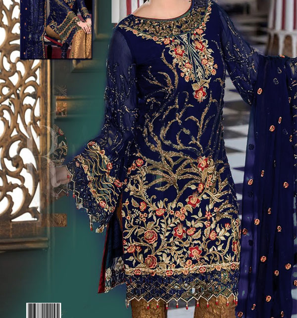 Embroidered Chiffon Suit with Jamawar Trouser UnStitched (Unstitched) (CHI-360)