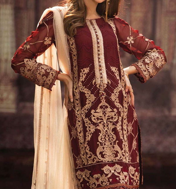 Embroidered Chiffon Suit With Net Dupatta (CHI-241) (Unstitched)