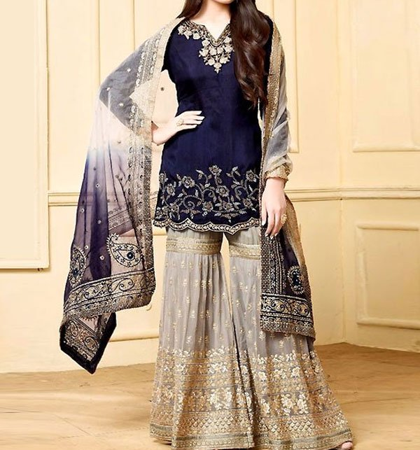 Embroidered Chiffon Suit with Heavy Embroidered Gharara (CHI-276) (Unstitched)