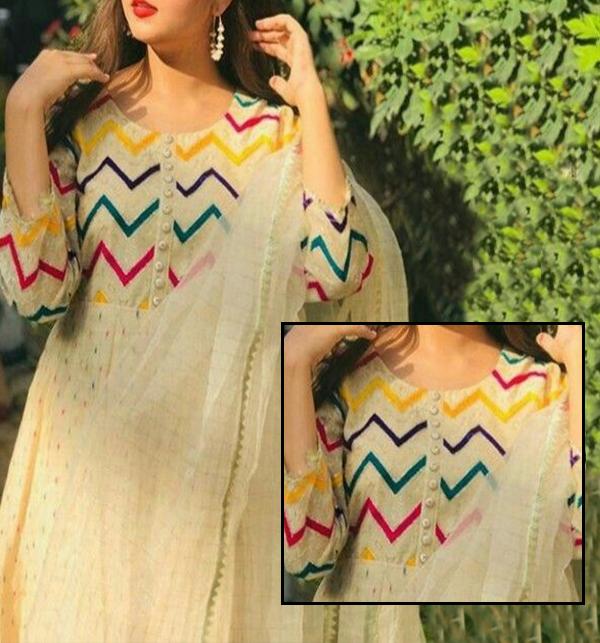 EID Collection Cotton Jequard Heavy Embroidery Dress With Organza Dupatta Masoori Trouser (DRL-729)