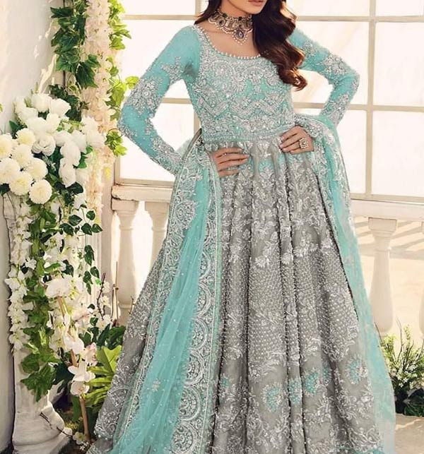 Embroidered NET Heavy Handwork Maxi With Embroidered Dupatta (CHI-499)