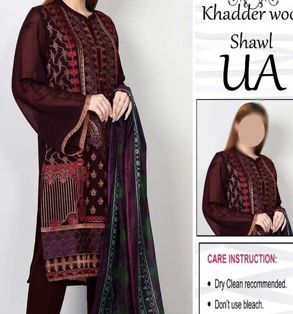 Khaddar Embroidered Dress with Wool Shawl Dupatta (Unstitched) (KD-116)