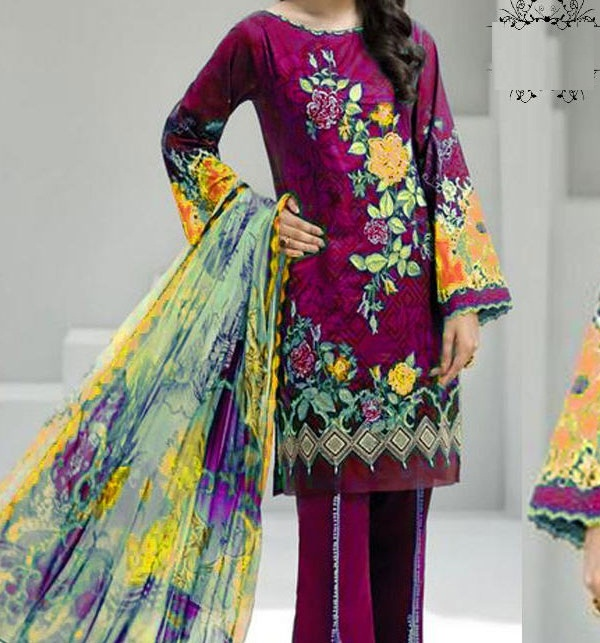 Khaddar Embroidered Suit with Wool Shawl Dupatta (Unstitched) (KD-54)