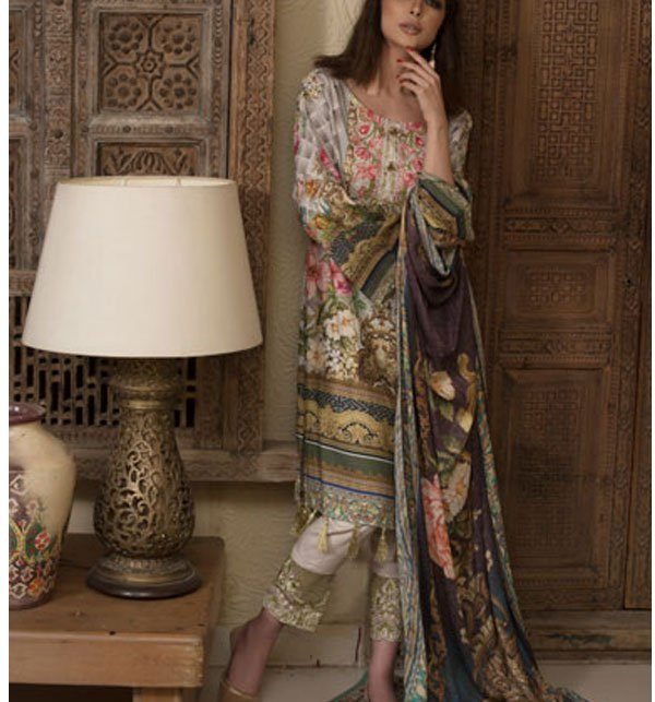 Embroidered Lawn Dress with Chiffon Dupatta (DRL-317) (Unstitched)