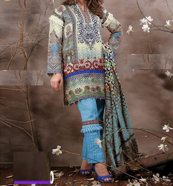 Embroidered Lawn Dress With Chiffon Dupatta (DRL-403) (Unstitched)