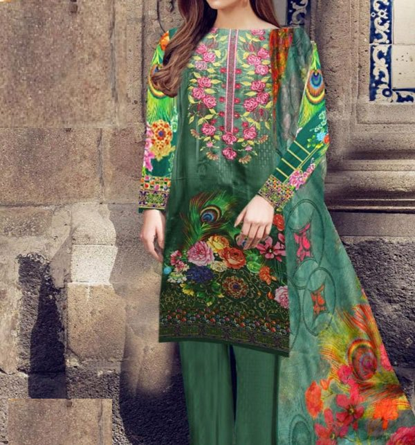 Embroidered Lawn Dress With Chiffon Dupatta (DRL-407) (Unstitched)