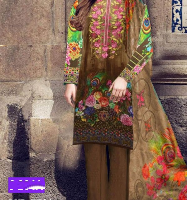 Embroidered Lawn Dress With Chiffon Dupatta (DRL-411) (Unstitched)
