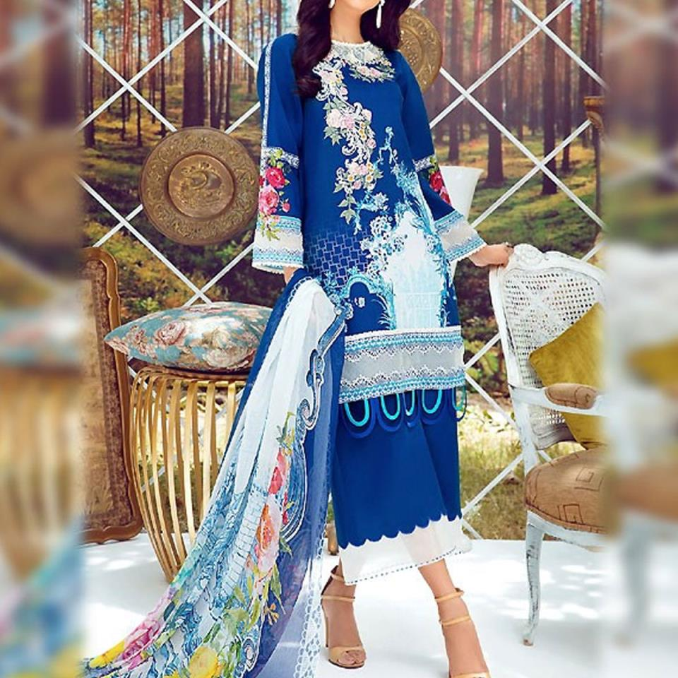 Embroidered Lawn Dress with Chiffon Dupatta (DRL-417) (Unstitched)