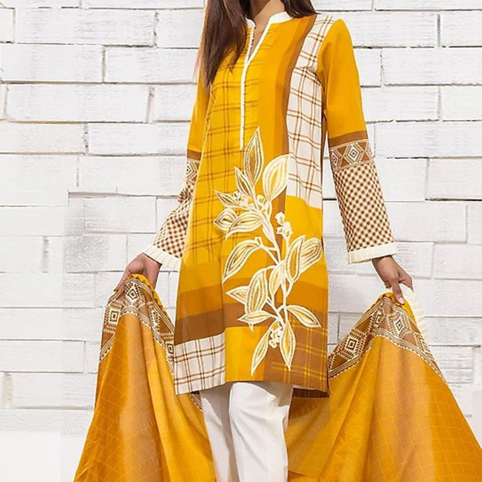 Embroidered Masori Lawn Dress With Chiffon Dupatta (DRL-443) (Unstitched)