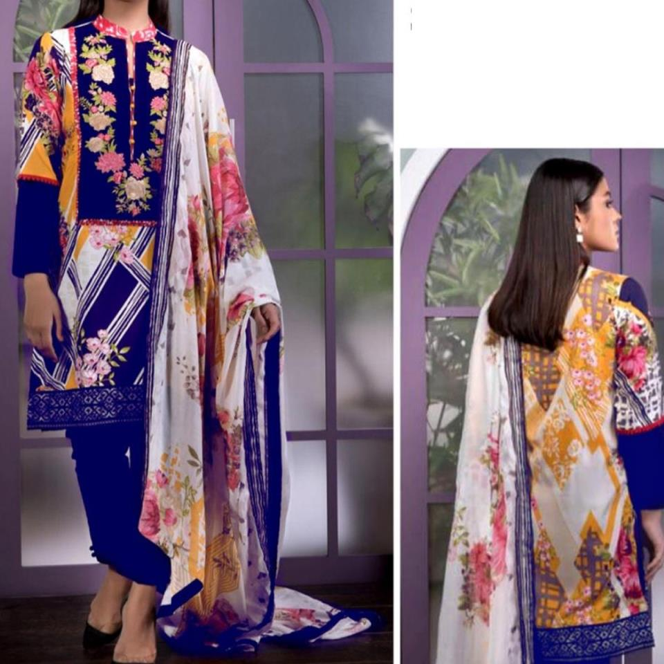 Embroidered Lawn Dress with Chiffon Dupatta (DRL-444) (Unstitched)
