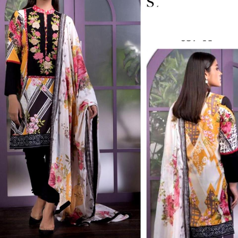 Embroidered Lawn Dress with Chiffon Dupatta (DRL-445) (Unstitched)