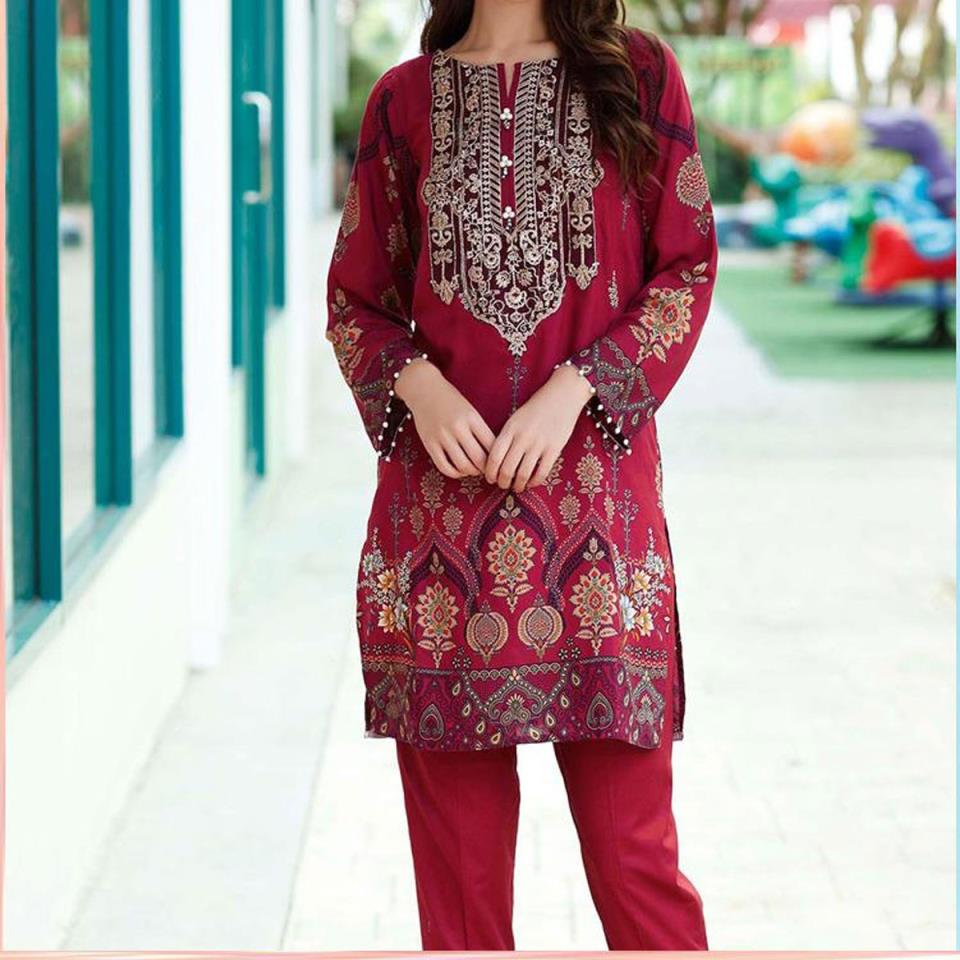 Embroidered Lawn Dress with Chiffon Dupatta (DRL-446) (Unstitched)