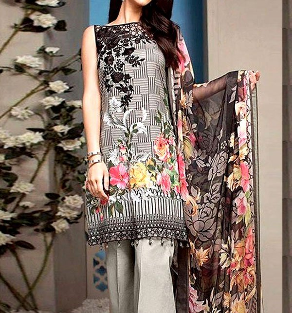 Embroidered Lawn Dress With Chiffon Dupatta (DRL-51)