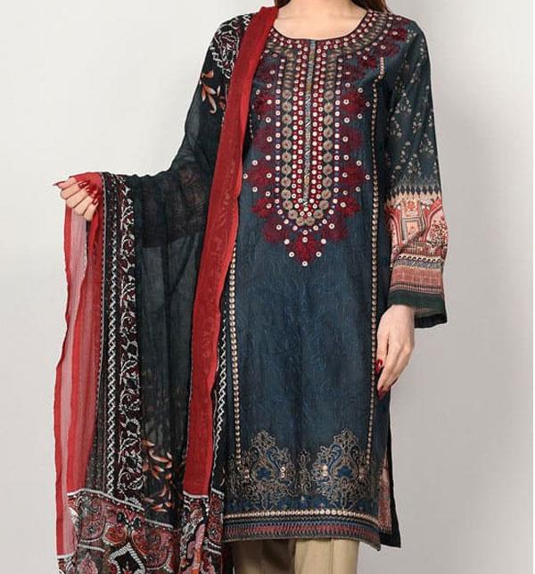 Masoori Lawn Dress with Chiffon Dupatta  UnStitched (DRL-629)