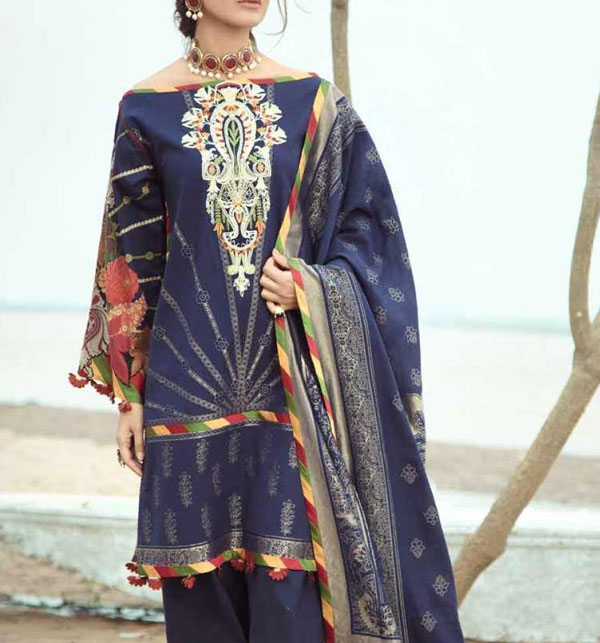 Embroidered Lawn Dress With Lawn Dupatta Unstitched 3 Piece Suit (DRL-567)
