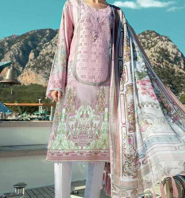 Embroidered Lawn Suit 2021 with Chiffon Dupatta (DRL-726)