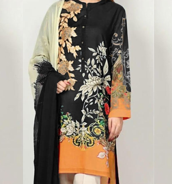 EMBROIDERED LAWN SUIT UnStitched With Chiffon Duppata (DRL-648)