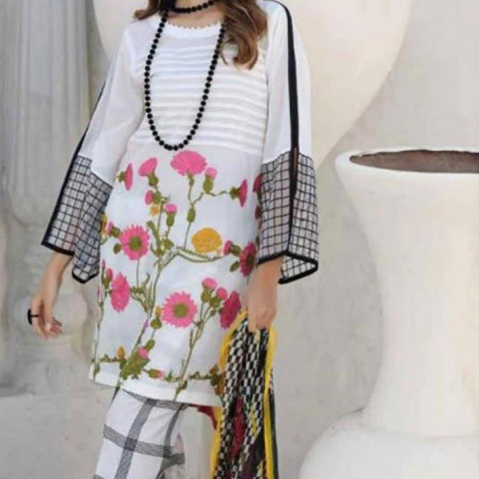 Heavy Embroidered Lawn Suit with Chiffon Dupatta - (DRL-427) (UnStitched)