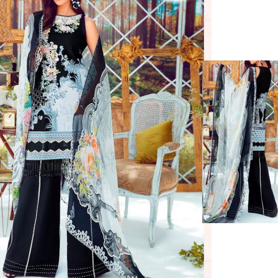 Lawn Embroidered Suit With Chiffon Dupatta  (DRL-438) (Unstitched)
