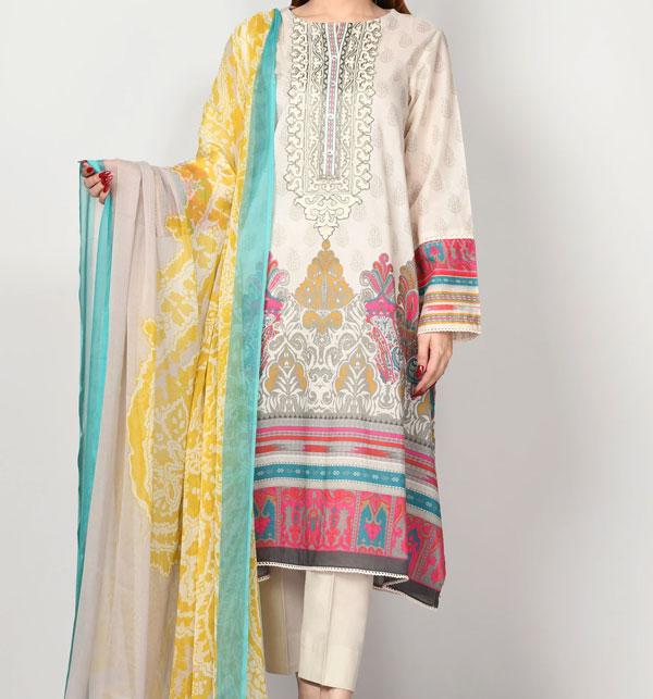 Masoori Lawn Dress with Chiffon Dupatta UnStitched (DRL-630)