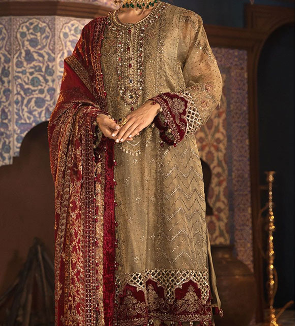Embroidered Lawn Suits with Chiffon Dupatta & Printed Trouser (DRL-454) (Unstitched)
