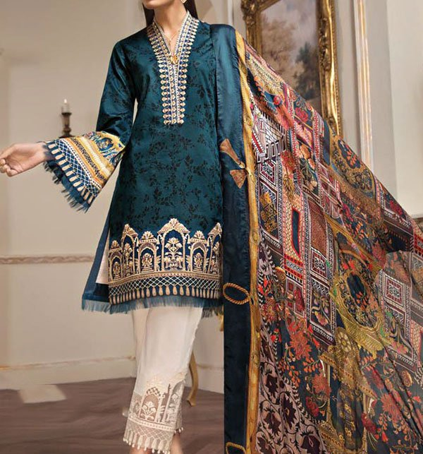 Embroidered Lawn Suit Chiffon Dupatta (DRL-286) (Unstitched)