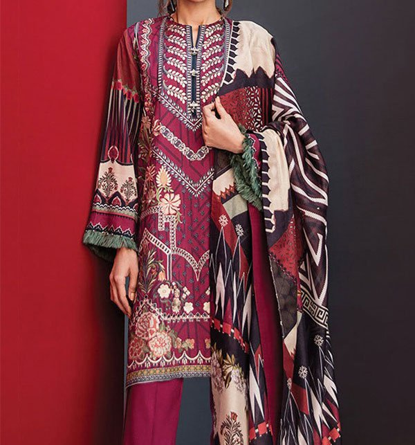 d8c837e4da (WEEKEND SALE) Embroidered Lawn Suit With Chiffon Dupatta (DRL-280)  (UnStitched)