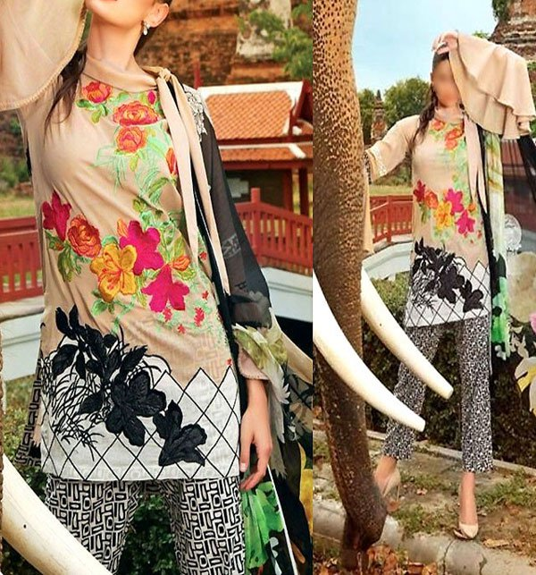 Sale Embroidered Linen Dress with Chiffon Dupatta (Unstitched) (LN-73)