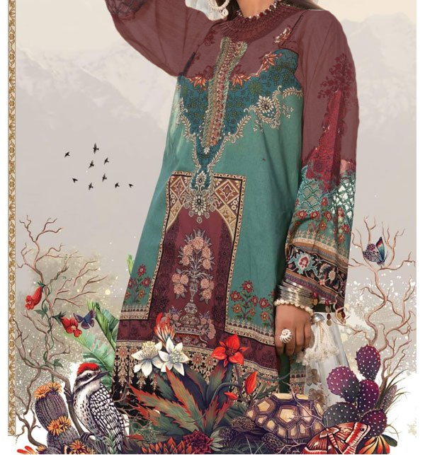 Linen Collection Embroidered Dress with Wool Shawl Winter Collection (Unstitched) (LN-76)