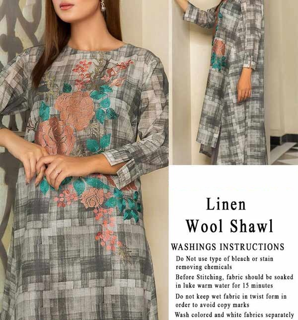 Embroidered Linen Dress with Wool Shawl Dupatta UnStitched (LN-164)