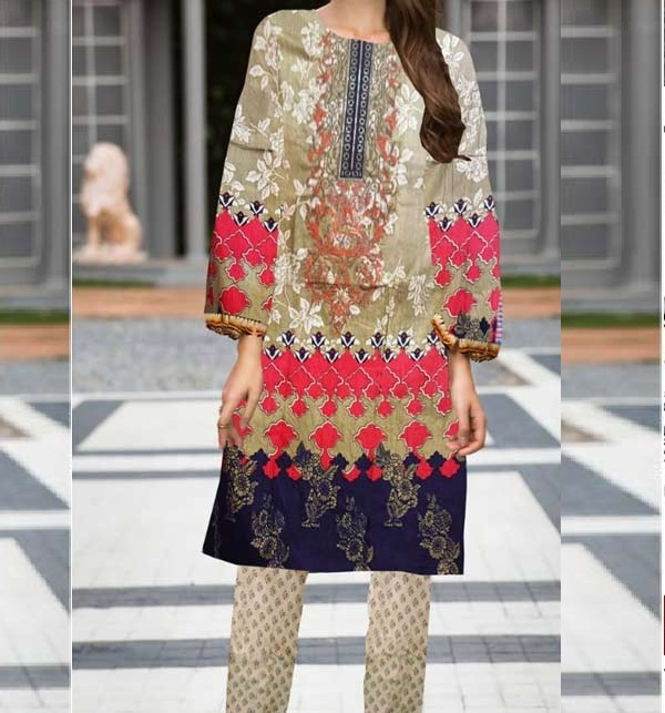 Embroidered Linen Dress with Wool Shawl Dupatta UnStitched (LN-176)