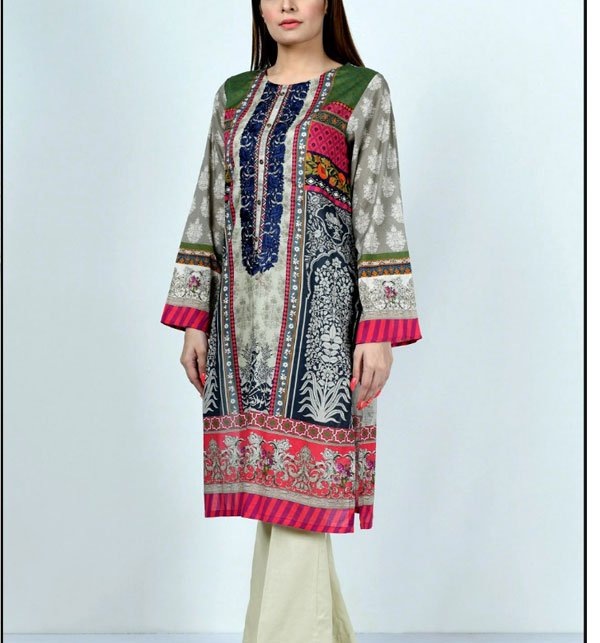 Linen Embroidered Suit 2019 with Wool Dupatta (LN-95) (Unstitched)