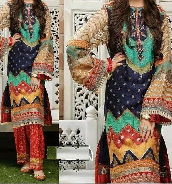 Embroidered Marina Dress with Wool Shawl Dupatta (Unstitched) (KD-130)